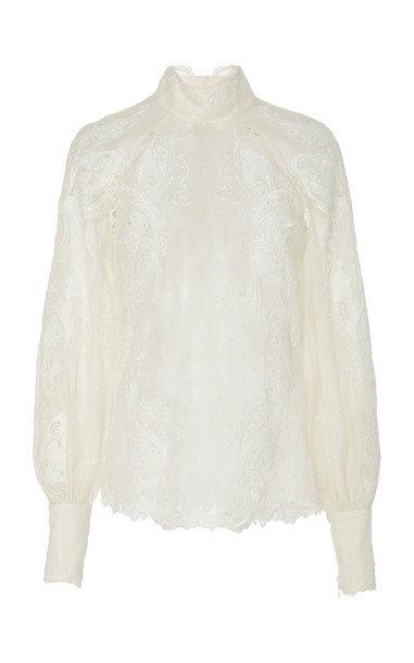Zimmermann Floral-Embroidered Cotton Blouse Size: 0 in white