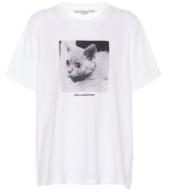 Stella McCartney Printed cotton T-shirt in white