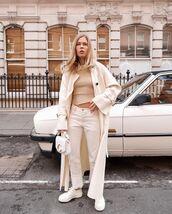 coat,wool coat,white coat,max mara,white jeans,levi's,white sneakers,white bag,top