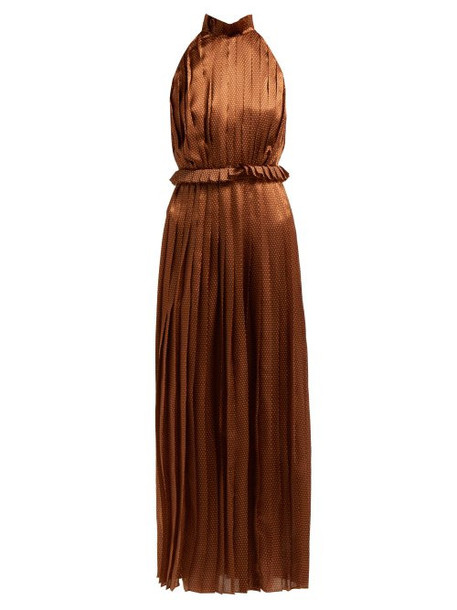 Raquel Diniz - Aiko Polka Dot Silk Satin Dress - Womens - Brown White