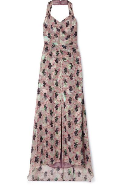 Anna Sui - Black Iris Printed Fil Coupé Silk-blend Chiffon Halterneck Maxi Dress - Pink