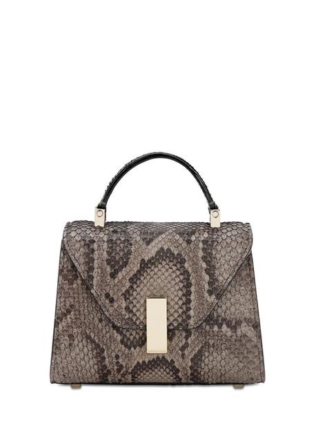 VALEXTRA Micro Snakeskin Top Handle Bag in grey