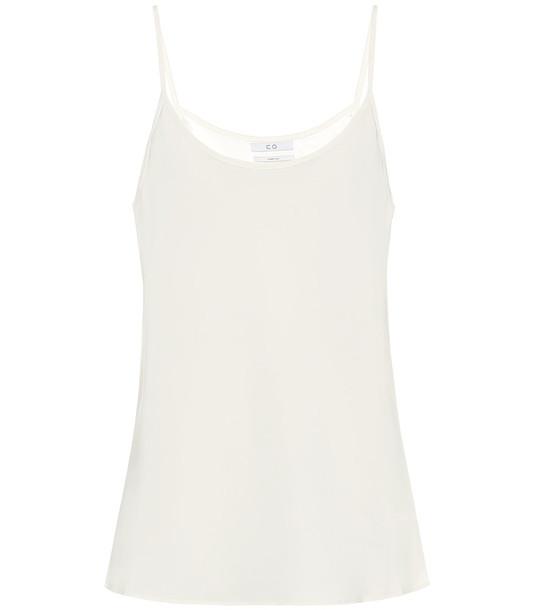 Co Stretch-crêpe camisole in white