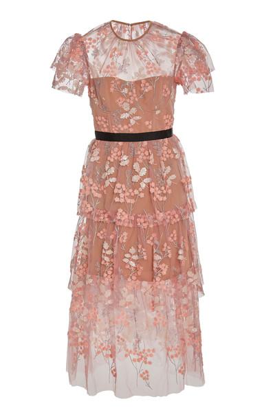 Self Portrait Floral-Embellished Tulle Midi Dress in pink