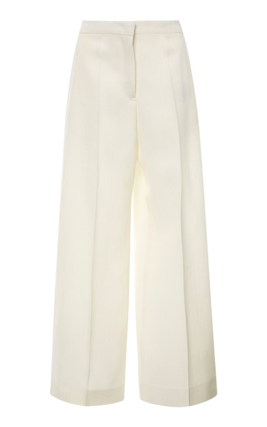 Jil Sander Pleated Stretch-Silk Cropped Wide-Leg Pants in white