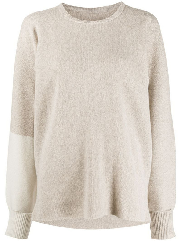 Issey Miyake fine knit jumper with dual tone sleeve in neutrals