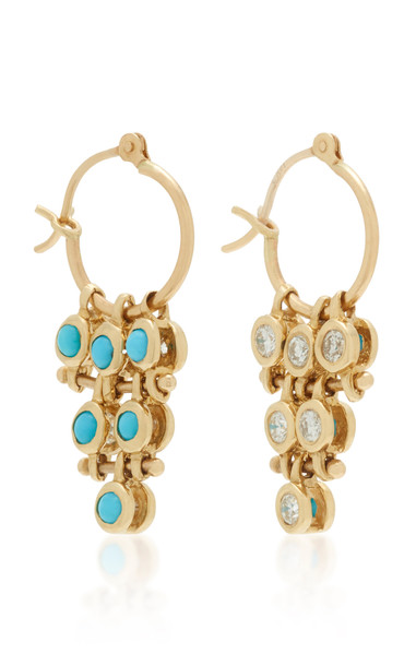 SCOSHA Mirror-Mirror 14K Gold And Multi-Stone Earrings in blue