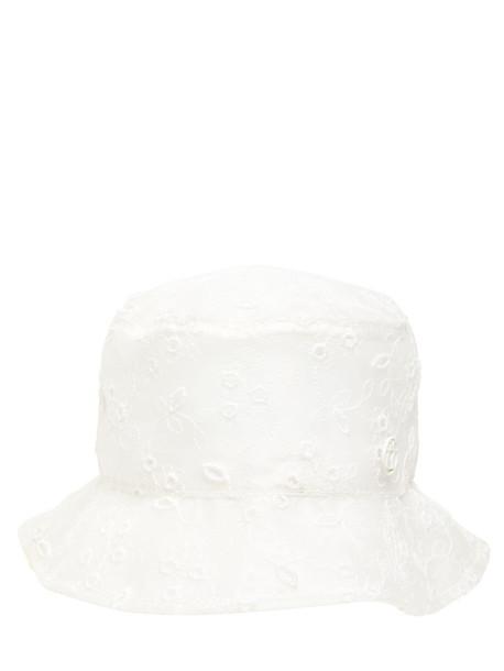 MAISON MICHEL Jasen Embroidered Pvc Bucket Hat in white