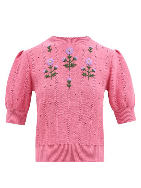 Gucci - Floral-embroidered Cotton-blend Sweater - Womens - Pink