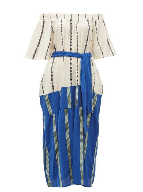 Ace & Jig - Casa Contrast Panel Striped Cotton Dress - Womens - Blue