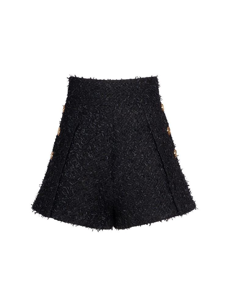 BALMAIN Tweed High Waist Mini Shorts in black