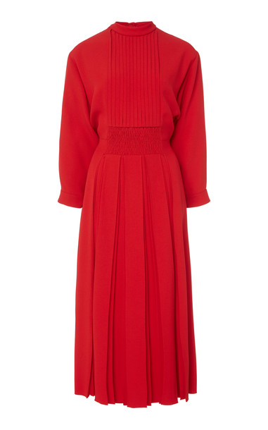 Prada Smocked Mock Neck Midi Dress in red