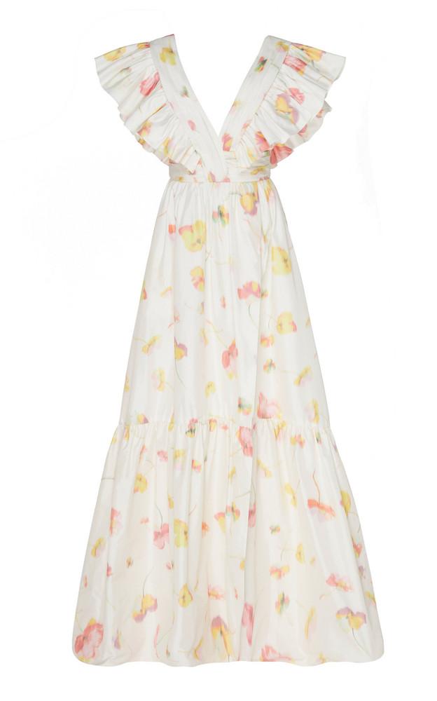 Monique Lhuillier Floral Taffeta Fluttered V-Neck Gown in white