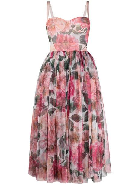 Dolce & Gabbana floral-print bustier dress in pink