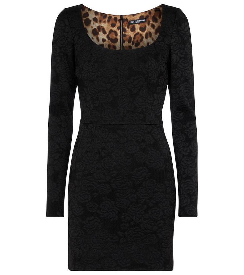 Dolce & Gabbana Floral jacquard minidress in black
