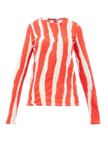 Proenza Schouler - Zebra Print Cotton Long Sleeved T Shirt - Womens - Cream Multi