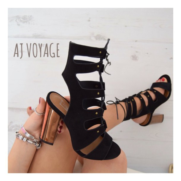shoes black suede black heels rose gold gold block heels sandals sandals heels high heels high heel sandals