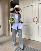 pants,wide-leg pants,grey pants,grey blazer,white shirt,hat