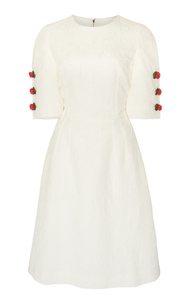 Dolce & Gabbana Rose-Embellished Textured Jacquard Midi Dress Size: 40 in white