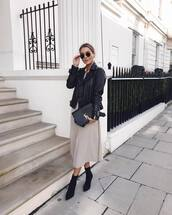 jacket,black leather jacket,topshop,black boots,ankle boots,midi dress,mango,ysl bag
