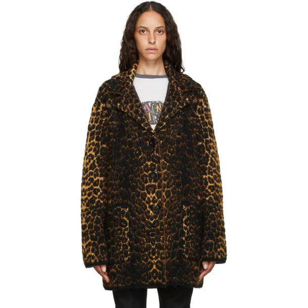 Saint Laurent Beige Wool Single-Breasted Coat
