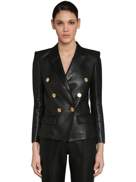 ALEXANDRE VAUTHIER Double Breast Napa Leather Blazer in black
