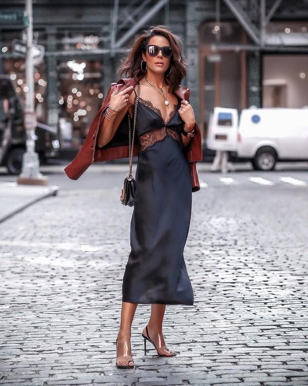 dress black dress midi dress silk dress sandal heels leather jacket black bag