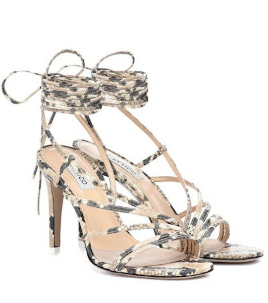 Attico Baby snake-effect leather sandals in beige