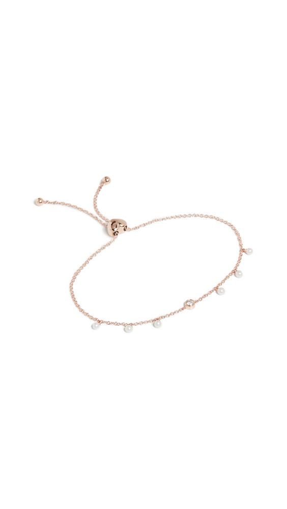 EF Collection 14k Diamond Bezel & Pearl Bolo Bracelet in gold / rose