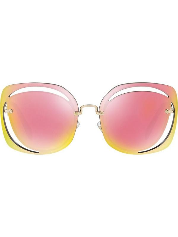 Miu Miu Eyewear cut out sunglasses in pink