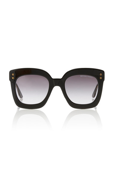 Bottega Veneta Sunglasses Oversized Square-Frame Acetate Sunglasses in black