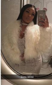 coat,faux fur,white,jacket