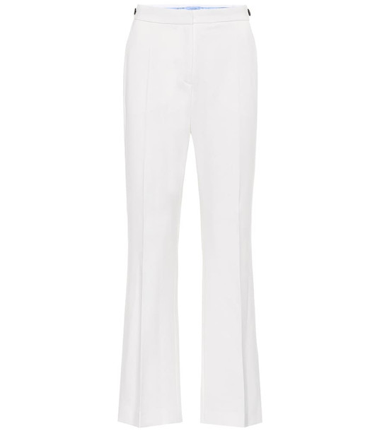 Mugler Mid-rise flared stretch-wool pants in white