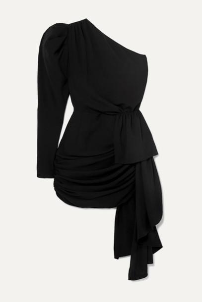 16ARLINGTON - One-sleeve Draped Crepe Mini Dress - Black