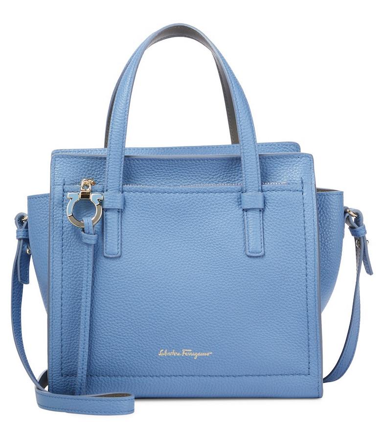 Salvatore Ferragamo Amy Small leather tote in blue