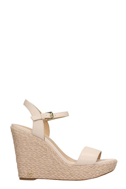 Michael Kors Nude Leather Jill Wedge Sandals
