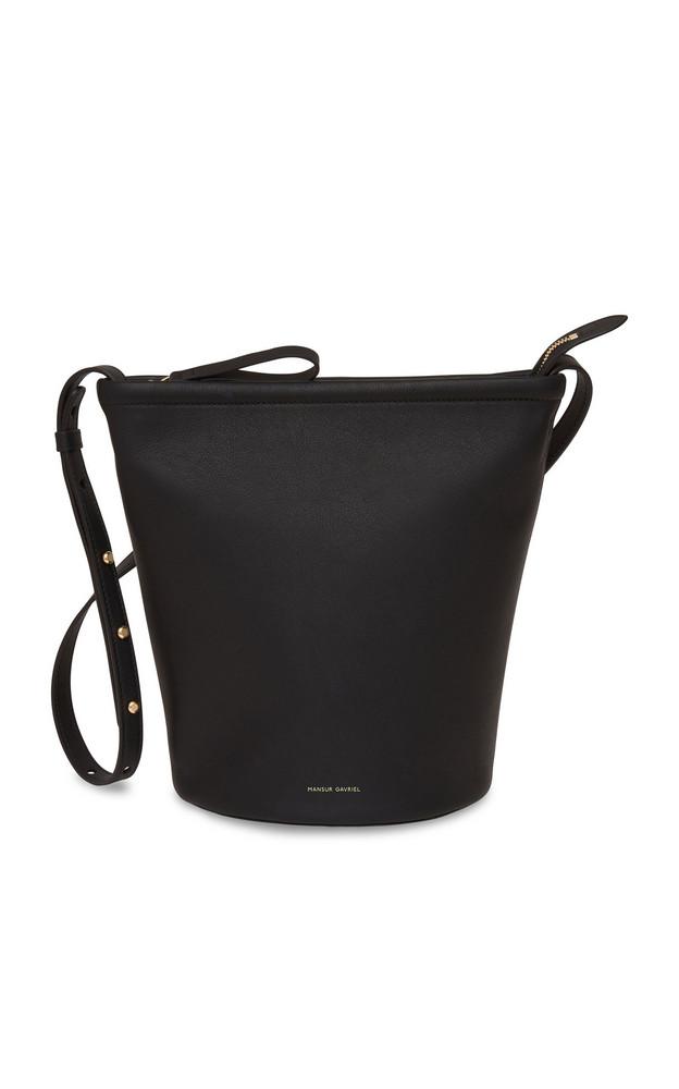 Mansur Gavriel Zip-up Leather and Canvas Bucket Bag in black