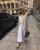 jacket,blazer,wide-leg pants,white pants,cropped,shoes,louis vuitton bag,top