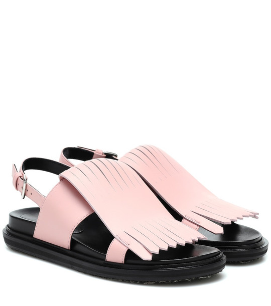 Marni Fringed leather sandals in black