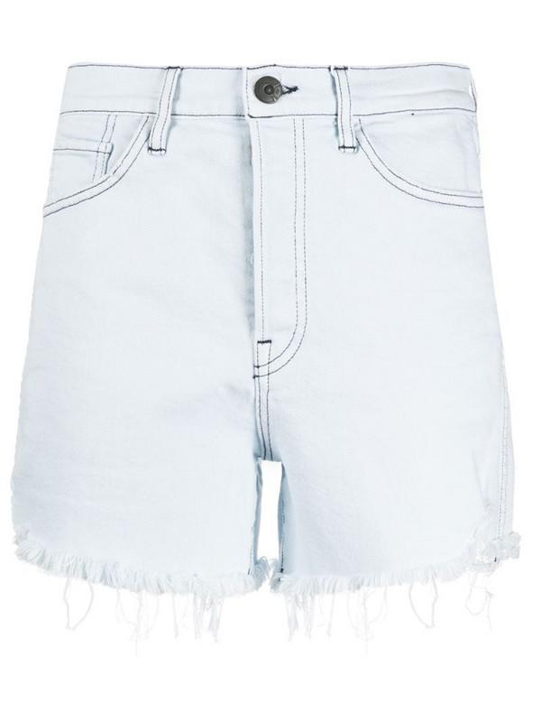 3x1 frayed-hem denim shorts in blue