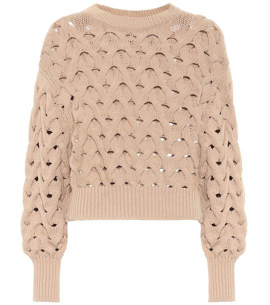 Brunello Cucinelli Open-knit cotton-blend sweater in beige