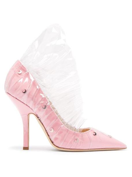 Midnight 00 - Shell Crescent Cotton & Pvc Ruffle Pumps - Womens - Pink