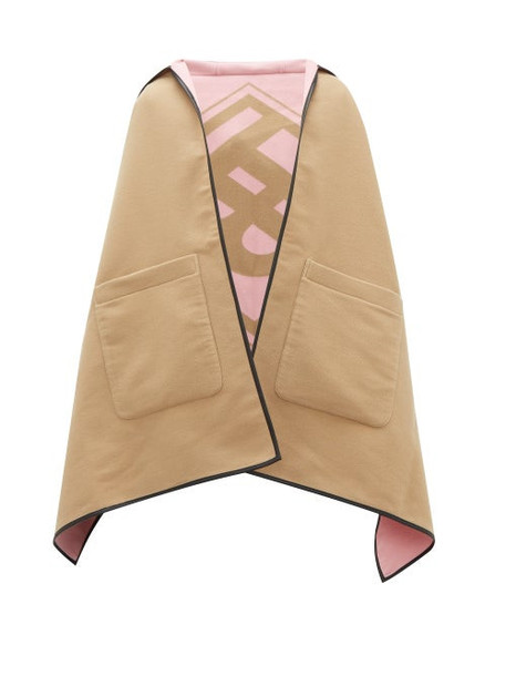 Burberry - Logo-jacquard Wool-blend Hooded Poncho - Womens - Beige
