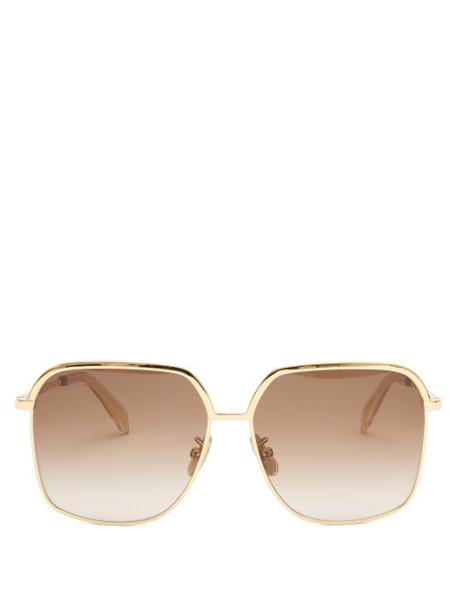Celine Eyewear - Square Metal Sunglasses - Womens - Gold