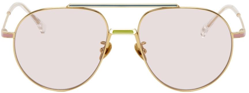 PROJEKT PRODUKT Gold Titanium Aviator Sunglasses in pink