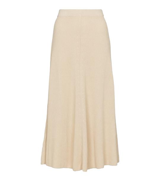Joseph Ribbed-knit cotton midi skirt in beige
