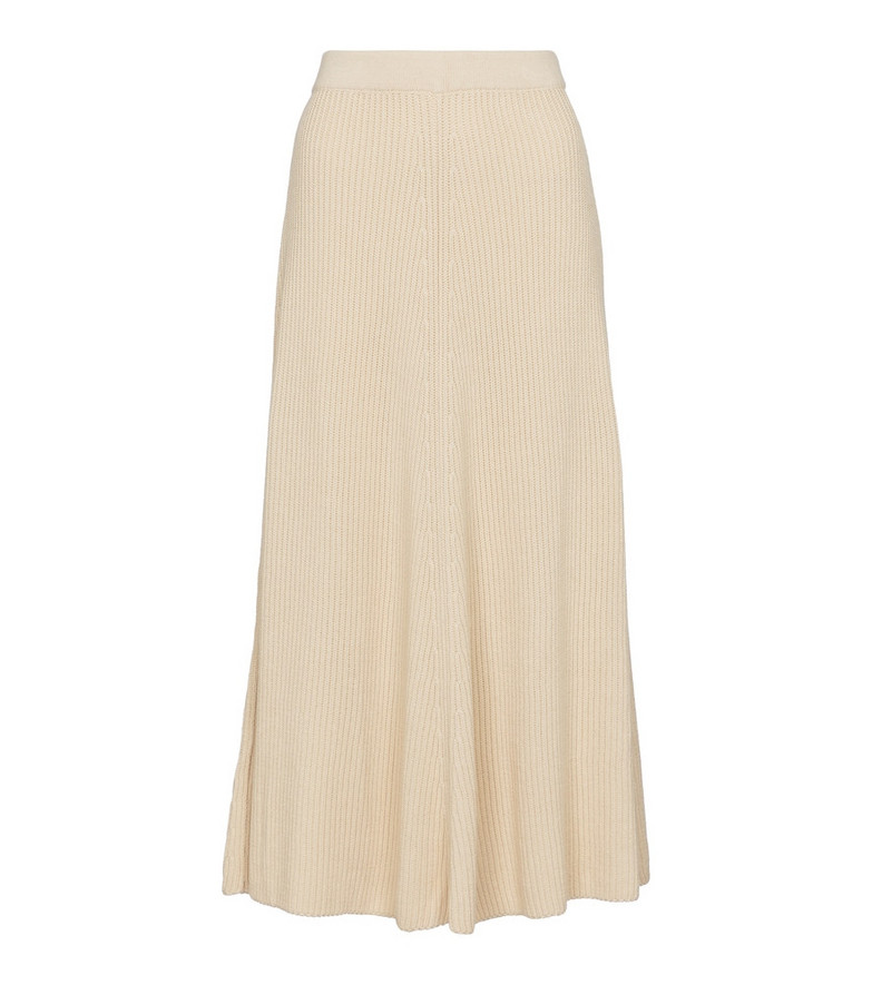 Joseph Ribbed-knit cotton midi skirt in beige