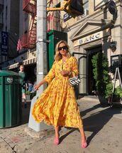 dress,yellow dress,floral dress,long sleeve dress,midi dress,sandals,handbag