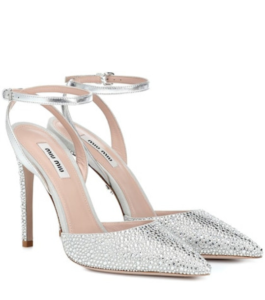 Miu Miu Embellished leather sandals in silver