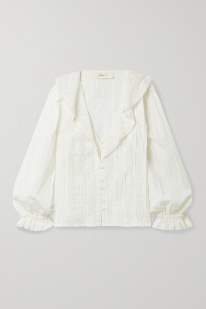 THE GREAT. THE GREAT. - The Hankie Lace-trimmed Pintucked Cotton-voile Blouse - White